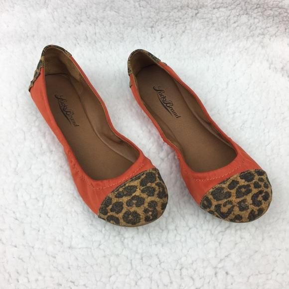 Evia Orange Leopard Print Flats